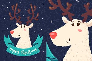 Happy deer. Vector Christmas card