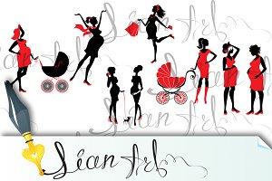 Set of  pregnant woman Silhouettes