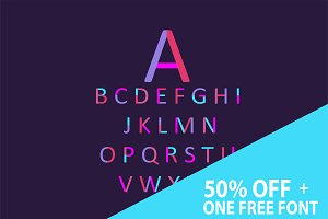 50% off Neon font purple + one free