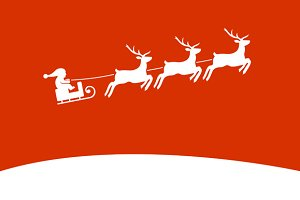 Background with Santa and Deers