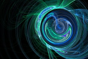 Blue green curves and circles abstract background