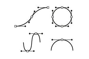Bezier Curve Icons Set