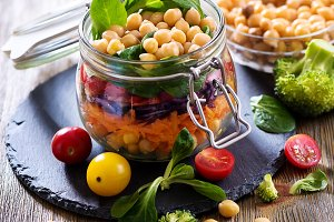 Healthy snack chickpea salad