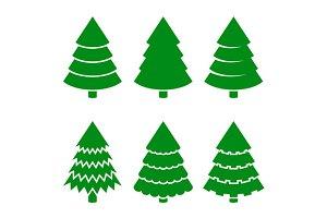 Christmas Trees Icons Set