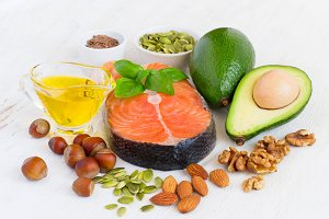 set of useful food for the heart and blood vessels