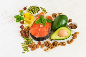 Food sources of omega 3 and healthy fats, healthy heart concept