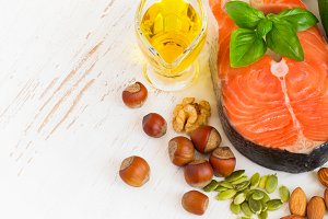 Food sources of omega 3 and healthy fats, copy space