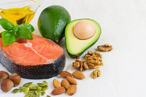selection Food sources of omega 3 and healthy fats. copy space