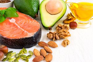 selection Food sources of omega 3 and healthy fats, copy space