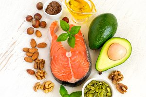 selection Food sources of omega 3 and healthy fats. Top view wit