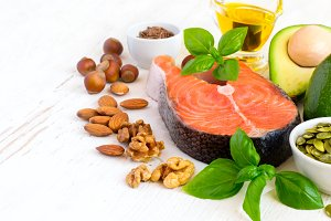 Set of food with high content of healthy fats and omega 3, copy