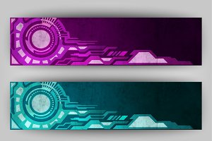 Abstract tech banners two