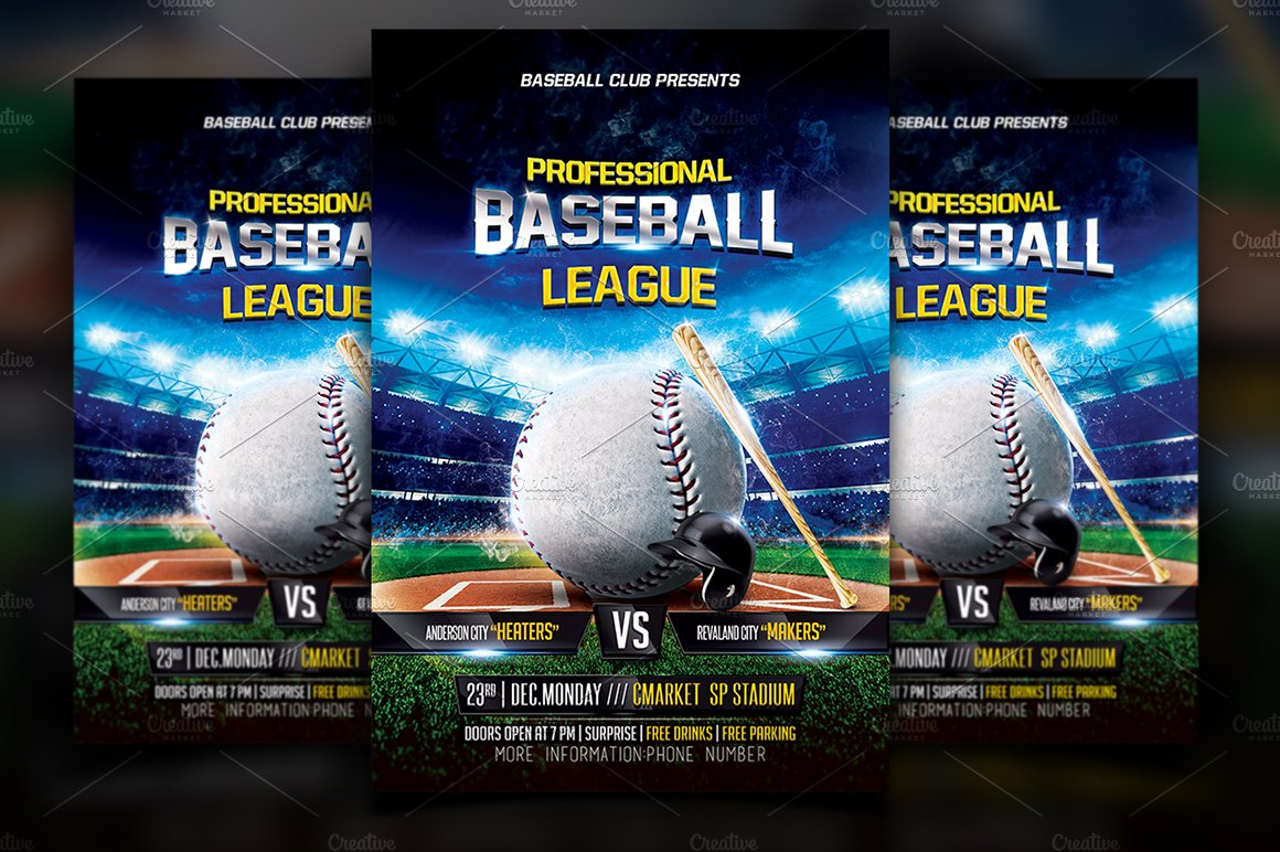 Baseball Flyer Template ~ Flyer Templates ~ Creative Market