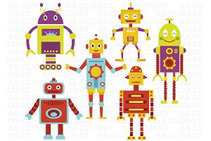 Cute Robots Digital Clip Art
