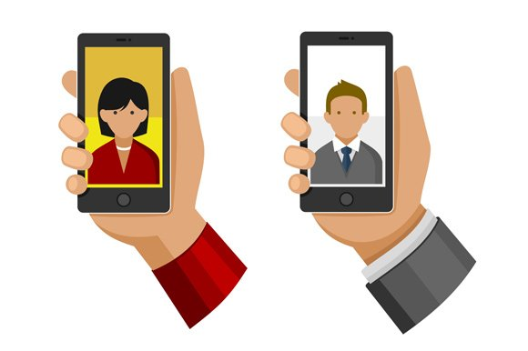 Selfie Photo On Phone Icon Set