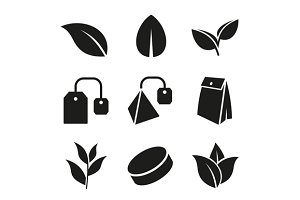 Tea Leaf and Bags Icons Set