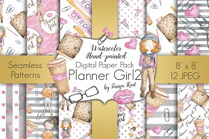 Planner Girl Digital Papers Pack