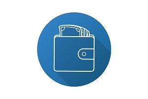 Wallet with money icon. Vector