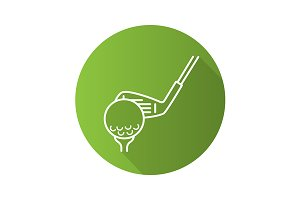 Golf club hitting ball icon. Vector