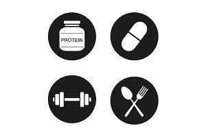 Bodybuilding. 4 icons. Vector