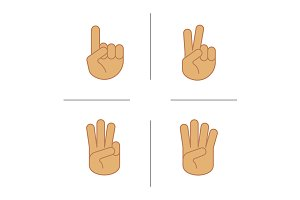 Hand gestures. 4 icons. Vector