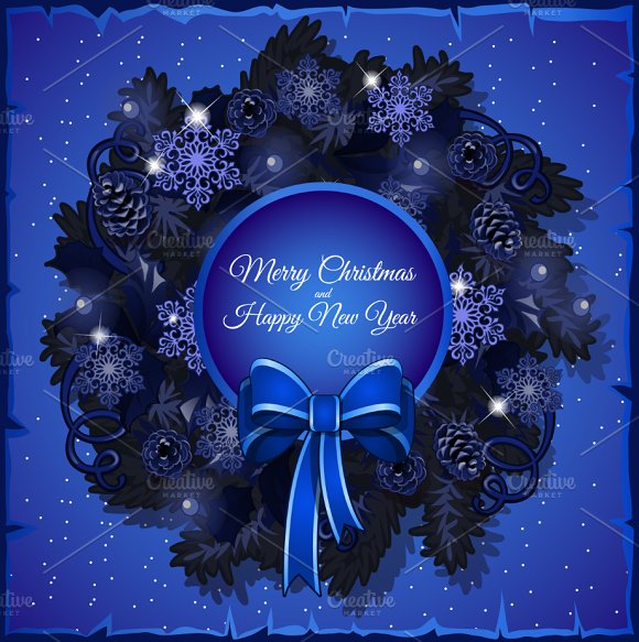 Blue stylized Christmas wreath