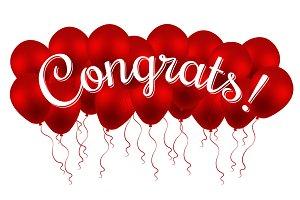 Congrats! Congratulation! Balloons.