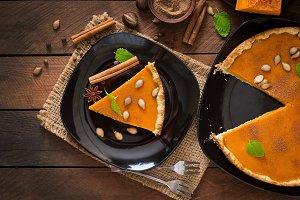 Pumpkin pie with cinnamon