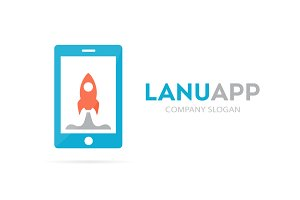 Spaceship and phone logo combination