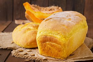 Homemade bread with pumpkin