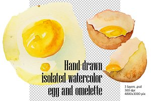 Hand-drawn watercolor fried eggs