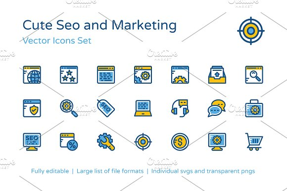 150 Cute SEO And Marketing Icons
