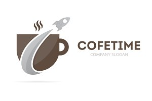 Rocket and coffee logo combination