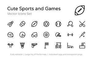 125+ Cute Sports and Games Icons
