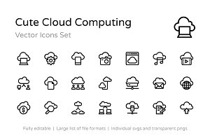 75+ Cute Cloud Computing Icons