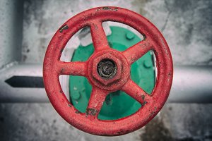 old red handwheel of valve