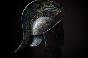 Ancient greek Sparta type helmet in Low Key. Display model.