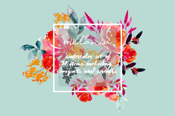 Melania - watercolor floral set