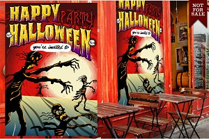 Happy Halloween Party with Skeletons