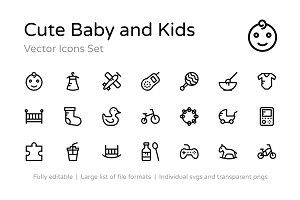 100+ Cute Baby and Kids Vector Icons