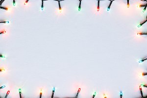 colorful glowing garland mockup