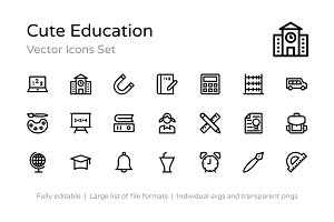 175+ Cute Education Vector Icons