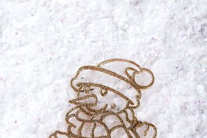 Top view on funny snowman