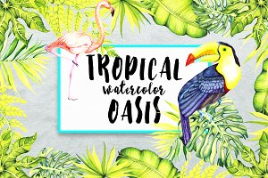 Tropical Watercolor Oasis