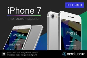 Iphone 7 Mockup White Full Pack