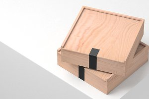 Two Wooden Boxes Mockup