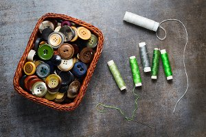 Buttons and spools of thread
