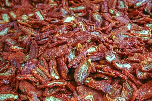 background of dried tomatoes