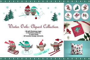 Winter Owls Clipart Collection