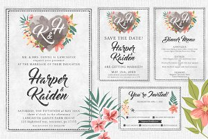 Chalk Floral Wedding Invite Bundle